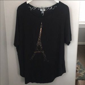 Old Navy Black and Rose Gold Eiffel Tower Tee
